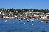 stock photo of dartmouth  - boats moored in the River Dart - JPG