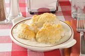 image of biscuits gravy  - A chicken casserole with mashed potatoes and topped with golden biscuits - JPG
