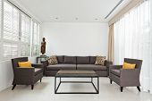 image of louvers  - Bright Living room with grey sofa and minimalistic decoration - JPG