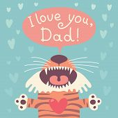 stock photo of tiger cub  - Card happy father - JPG