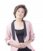 stock photo of filipina  - Portrait of a confident young asian woman in pink business suit on white background - JPG