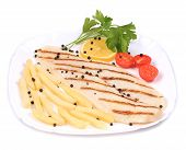 stock photo of pangasius  - Grilled pangasius steak with vegetables - JPG