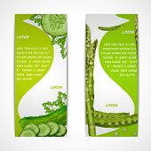 picture of green pea  - Green vegetable organic food vertical banners set with parsley peas cucumber isolated vector illustration - JPG