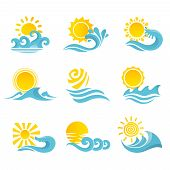 pic of flow  - Waves flowing water sea ocean icons set with sun isolated vector illustration - JPG