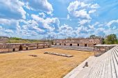 stock photo of yucatan  - The Pyramid of the Magician is the central structure in the Maya ruin complex of Uxmal, Mexico Uxmal ancient mayan city, Yucatan, Mexico - JPG