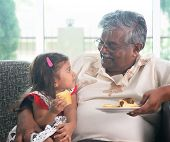image of grandparent child  - Portrait Indian family at home - JPG