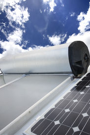 pic of hot water  - solar hot wate panels and electricity panels - JPG