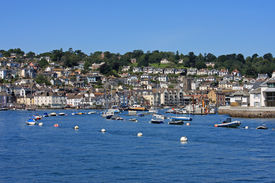 picture of dartmouth  - boats moored in the River Dart - JPG
