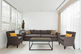 foto of louvers  - Bright Living room with grey sofa and minimalistic decoration - JPG