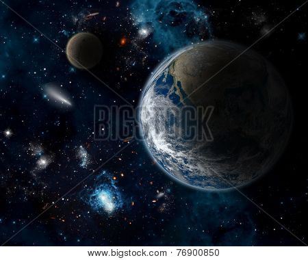 3D space background with planet Earth - elements from this image furnished from NASA