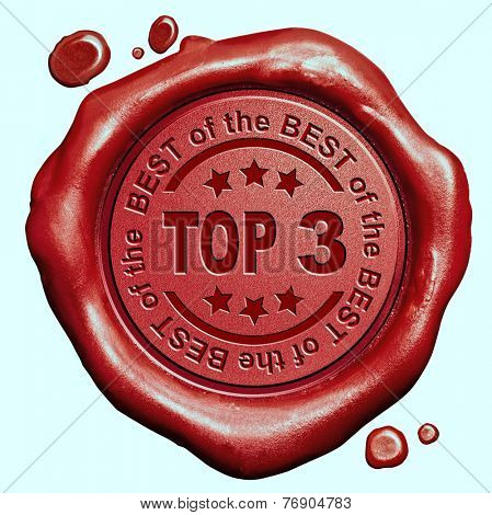 top 3 chart ranking or winners result red wax seal stamp