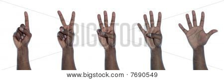 Dark-skinned hand counting