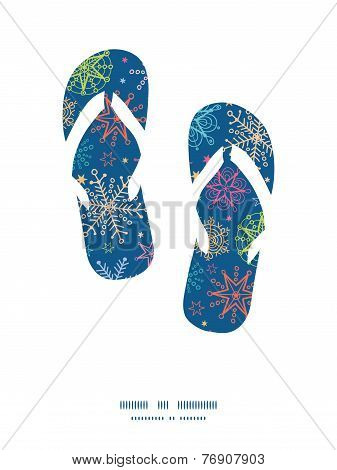 Vector colorful doodle snowflakes flip flops silhouettes pattern frame