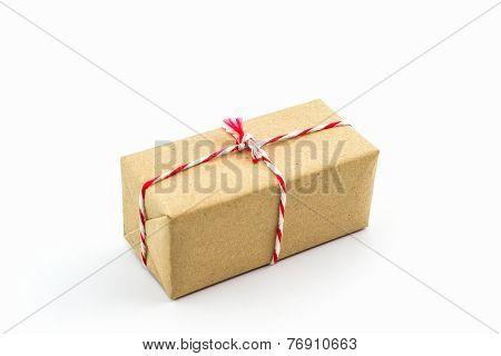 Cardboard Carton Wrapped With Brown Paper.