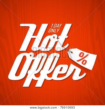 Hot Offer poster element. Vector.