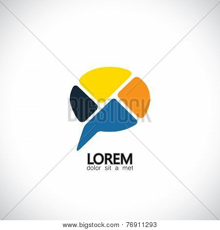 Abstract Vector Icon For Communication, People Speaking, Consensus.