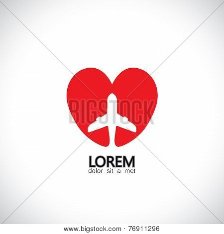 Vector Icon For Love Of Travel, Heart With Plane Symbol