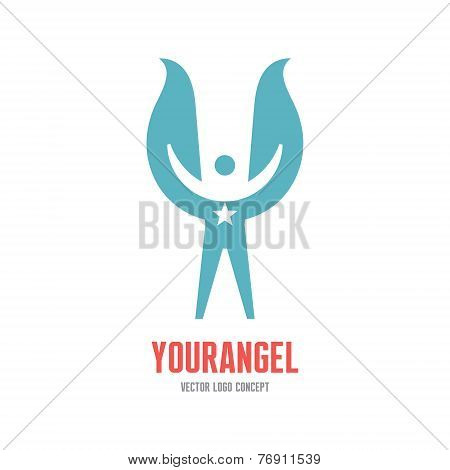 Your angel - vector logo concept illustration. Human character logo. Human with wings and star.