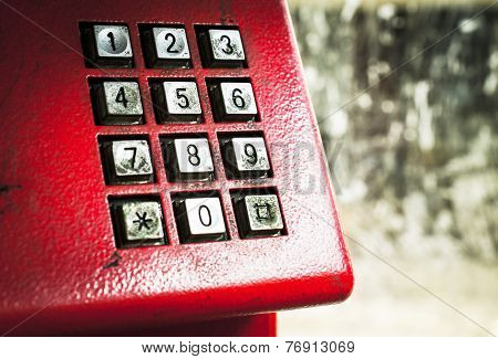 Dirty stains on dialing telephone keypad