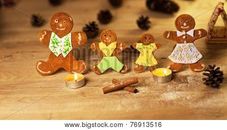 Christmas gingerbread men candles