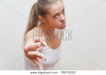 Woman Hand Gesture For Beware Of What You Do