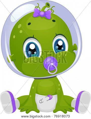 Illustration Featuring a Female Baby Alien in Diapers Sucking a Pacifier