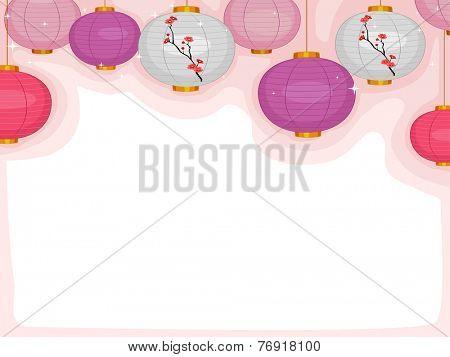 Background Illustration Featuring Colorful Japanese Lanterns