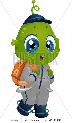 Illustration Featuring an Alien Boy Wearing a School Bag