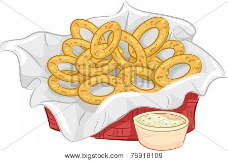 Illustration Featuring a Basket of Onion Rings