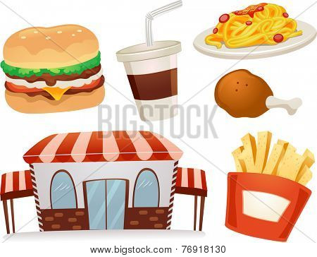 Illustration Featuring Different Fast Food Staple