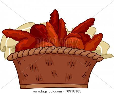 Illustration Featuring a Basket of Buffalo Wings