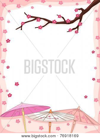 Background Illustration Featuring Cherry Blossoms Falling Down on Japanese Parasols