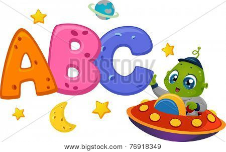 Educational Illustration Featuring an Alien in a Spaceship Reaching Out to Letters of the Alphabet