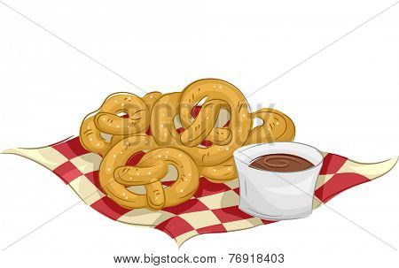 Illustration Featuring Pretzels Accompanied by a Cup of Chocolate Dip
