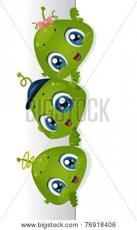 Board Illustration Featuring Cute Little Aliens