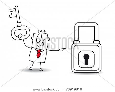 The business and the padlock. Joe with a key and a padlock. It is a metaphor of security or the metaphor to find a solution.