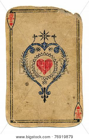 Antique Playing Card Ace Of Hearts Isolated On White
