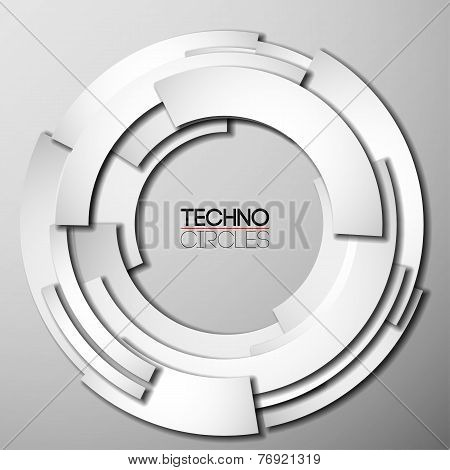 White paper tech circles with shadow