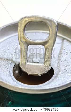 Closeup Shot From The Pull Ring On A Beverage Can