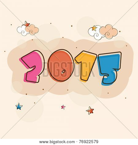 Kiddish greeting card with colorful text 2015 on clouds and stars decorated stylish background.
