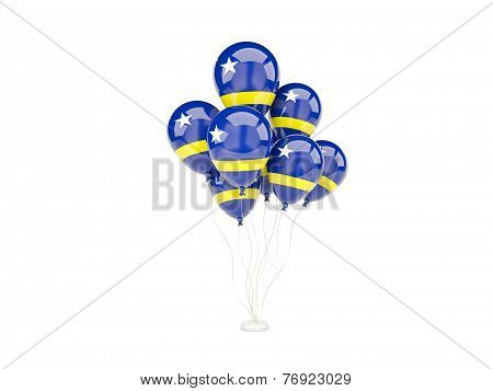 Flying Balloons With Flag Of Curacao