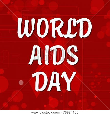 World Aids Day poster or banner design with stylish text on red ribbon of aids awareness
