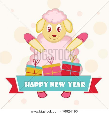 Year of the sheep 2015, New year celebrations greeting card design with kiddish sheep and gift boxes on stylish background.