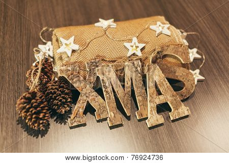 Christmas Decoration Still-life With Wooden Ornaments