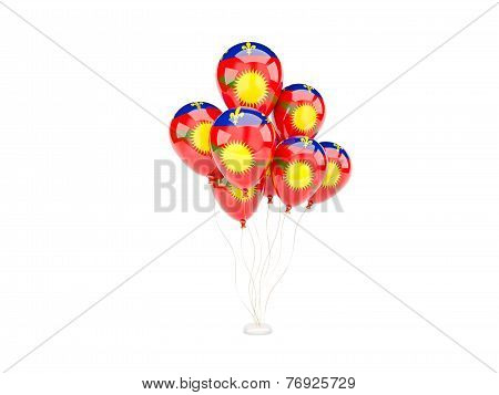 Flying Balloons With Flag Of Guadeloupe