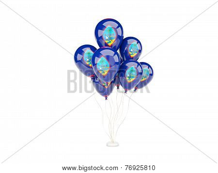 Flying Balloons With Flag Of Guam