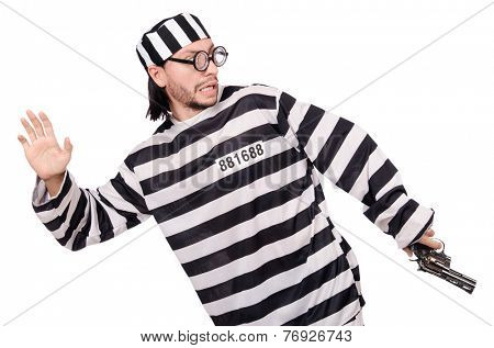 Prison inmate with gun isolated on white
