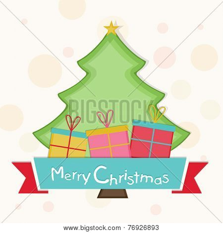 Merry Christmas celebration with beautiful X-mas tree and gift boxes on stylish background.