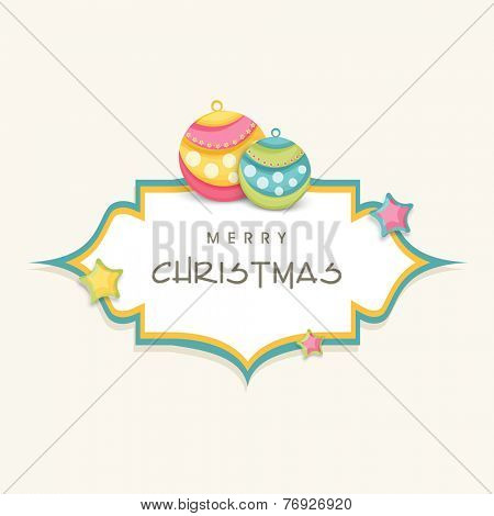 Sticker, tag or label with X-mas ball for Merry Christmas celebration on beige background.
