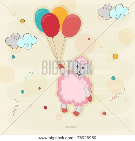 Kiddish greeting card with sheep holding colorful balloons on stylish background for Happy New Year celebrations.
